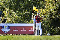 Jordan Spieth (Team USA) on the 10th tee during Saturday afternoon Fourball at the Ryder Cup, Hazeltine National Golf Club, Chaska, Minnesota, USA.  01/10/2016<br /> Picture: Golffile | Fran Caffrey<br /> <br /> <br /> All photo usage must carry mandatory copyright credit (&copy; Golffile | Fran Caffrey)