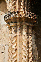 Pictures & images of Nikortsminda ( Nicortsminda ) St Nicholas Georgian Orthodox Cathedral exterior and its Georgian relief sculpture stonework pillar decorations, 11th century, Nikortsminda, Racha region of Georgia (country). A UNESCO World Heritage Tentative Site.