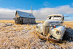 First snow on the old International Truck, Great Plains, Montana