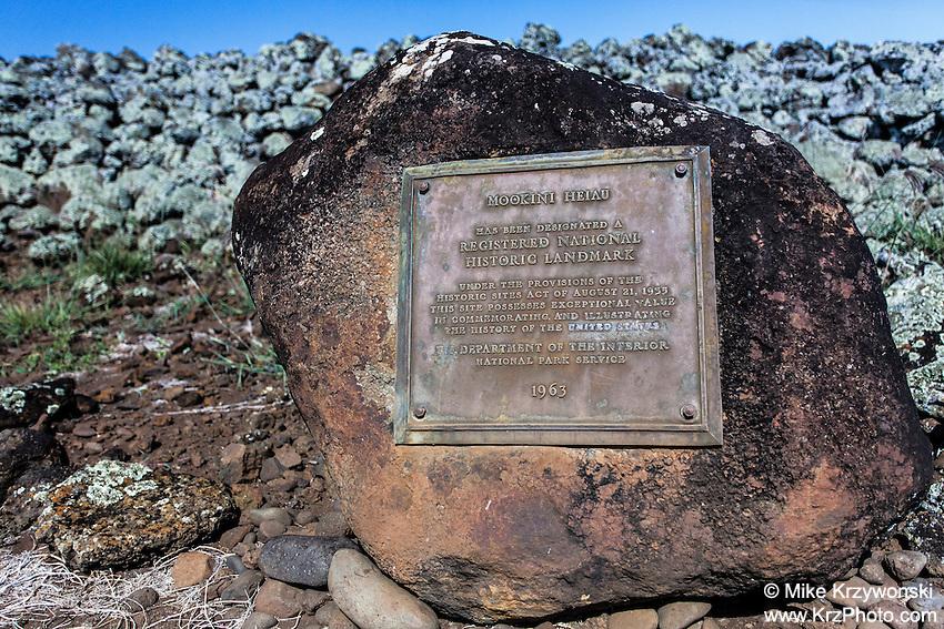 Mo'okini heiau plaque, Big Island, Hawaii