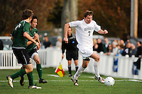 Max Hamilton (7) of the Monmouth Hawks. Dartmouth defeated Monmouth 4-0 during the first round of the 2010 NCAA Division 1 Men's Soccer Championship on the Great Lawn of Monmouth University in West Long Branch, NJ, on November 18, 2010.