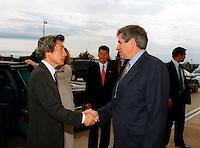 Sept. 25, 2001, Washington, DC, United States<br /> <br /> Deputy Secretary of Defense Paul Wolfowitz (right) greets Japan's Prime Minister Junichiro Koizumi (left) at the Pentagon on Sept. 25, 2001. <br /> .