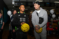 Pictured: Rhian Brewster with Courtney Baker-Richardson of Swansea City during the Swansea player and fans bowling evening at Tenpin Swansea, Swansea, Wales, UK. Wednesday 22 January 2020