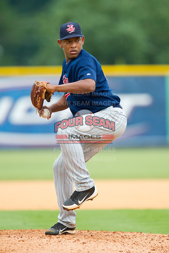 Elizabethton Twins starting pitcher Yorman Landa (46) in action against the Burlington Royals at Burlington Athletic Park on August 11, 2013 in Burlington, North Carolina.  The Twins defeated the Royals 12-5.  (Brian Westerholt/Four Seam Images)