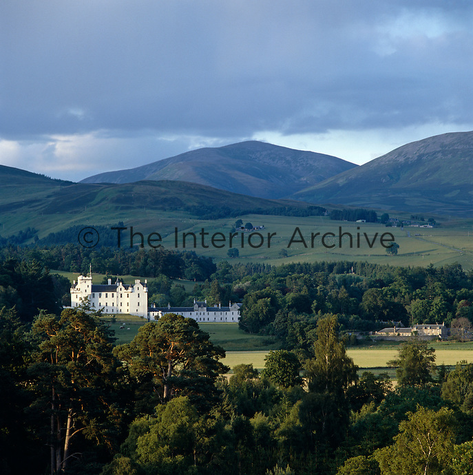 The white walls of Blair Atholl sparkle in the late afternoon sun