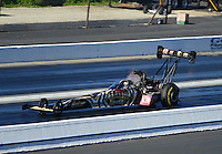 Nov. 10, 2012; Pomona, CA, USA: NHRA top fuel dragster driver Khalid Albalooshi during qualifying for the Auto Club Finals at at Auto Club Raceway at Pomona. Mandatory Credit: Mark J. Rebilas-