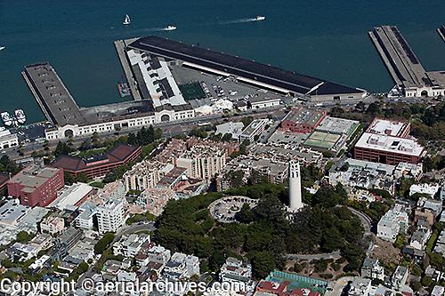 aerial photograph Coit Tower Pier 29 North Beach San Francisco, California
