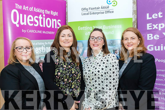 L-R Neasa O'Flaherty, CARA credit union, Tralee, Sarah Treacy, OCKT, Killareny, Siobhan Kelly, CARA credit union, Tralee and Dr Una Houlihan of South Doc pictured at the HR suite seminar held in the Pavillion, Ballygarry house hotel, Tralee last Wednesday morning, March 3.