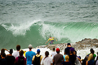 SNAPPER ROCKS, Queensland/Australia (Saturday, 25 February, 2012) Yadin Nichol (AUS). – The Quiksilver Pro Gold Coast presented by Land Rover kicked off the 2012 ASP World Championship Tour with some great performances in shifty three-to-four foot (2 meter) surf at Snapper Rocks today. The Top 34 surfers in the world went for broke in the opening non-elimination round, the winners advance directly into Round 3, while 2nd and 3rd are forced to battle it out in Round 2. . .Kelly Slater (USA), 40, reigning 11 x ASP World Champion and defending event winner, sent a clear message to his fellow competitors by posting a massive 18.80 (out of a possible 20) in the first 10 minutes of his opening heat of 2012. Slater was matched up against 2012 ASP rookie sensation Kolohe Andino (USA), 17, and event trials' winner Garrett Parkes (AUS), 20..Owen Wright (AUS), 22, scored an epic come-from-behind victory in an all-Australian heat against Bede Durbidge (AUS), 28, and Kai Otton (AUS), 32. Durbidge took control of the heat early, but failed to find a backup score after posting the highest wave score of the heat and was overtaken by Wright who managed to find two good scores.. .Photo: joliphotos.com