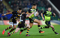 Adam Byrne of Leinster Rugby takes on the Northampton Saints defence. European Rugby Champions Cup match, between Northampton Saints and Leinster Rugby on December 9, 2016 at Franklin's Gardens in Northampton, England. Photo by: Patrick Khachfe / JMP