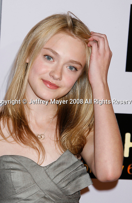 """WESTWOOD, CA. - January 29: Actress Dakota Fanning arrives at the Los Angeles Premiere of """"Push"""" at the Mann Village Theater on January 29, 2009 in Westwood, California."""
