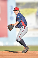 Rome Braves shortstop Riley Delgado (8) throws to first base during a game against the Asheville Tourists at McCormick Field on June 5, 2018 in Asheville, North Carolina. The Tourists defeated the Braves 11-6. (Tony Farlow/Four Seam Images)