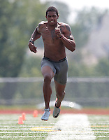 HEMPFIELD TOWNSHIP, PA - AUGUST 20:  Terrelle Pryor runs the 40-yard dash during his pro day at a practice facility on August 20, 2011 in Hempfield Township, Pennsylvania.  (Photo by Jared Wickerham/Getty Images)
