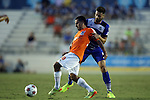 16 August 2014: Carolina's Danny Barrera (90) and Edmonton's Ritchie Jones (ENG) (8). The Carolina RailHawks played FC Edmonton at WakeMed Stadium in Cary, North Carolina in a 2014 North American Soccer League Fall Season match. Edmonton won the match 3-2.