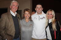 NWA Democrat-Gazette/CARIN SCHOPPMEYER James and Gina Mayfield (from left) and Baker Mayfield and Megan Mayberry (cq) attend the Burlsworth Trophy reception Dec. 4 at the Janelle Y. Hembree Alumni House in Fayetteville. Baker was awarded the trophy, for the second year in a row, at a luncheon the following day.