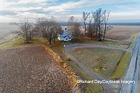 63895-16702 Pleasant Grove Methodist Church at sunrise in fog-aerial-Marion Co. IL