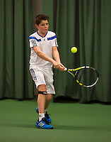 Rotterdam, The Netherlands, 07.03.2014. NOJK ,National Indoor Juniors Championships of 2014, 12and 16 years, Jens Hoogendam (NED)<br />