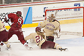 Lyndsey Fry (Harvard - 9), Lexi Bender (BC - 21), Corinne Boyles (BC - 29) - The Boston College Eagles defeated the visiting Harvard University Crimson 3-1 in their NCAA quarterfinal matchup on Saturday, March 16, 2013, at Kelley Rink in Conte Forum in Chestnut Hill, Massachusetts.
