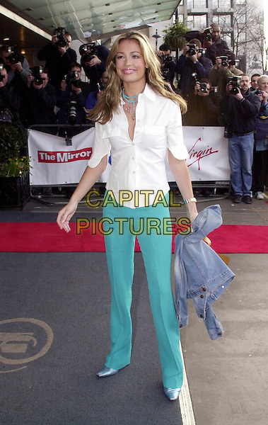 CAT DEELEY.Pride of Britain Awards, the Hilton, London.Ref: HT.www.capitalpictures.com.sales@capitalpictures.com.© Capital Pictures.white shirt, turquoise trousers