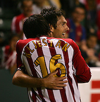 CD Chivas USA forward Ante Rozov (9) celebrates his goal with teammate midfielder Sacha Kljestan (16). CD Chivas USA defeated the LA Galaxy in the Super Clasico 3-0 at the Home Depot Center in Carson, CA, Thursday, September 13, 2007.