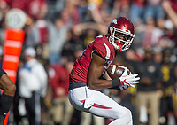 Hawgs Illustrated/BEN GOFF <br /> Jordan Jones, Arkansas wide receiver, catches a pass for 65 yards in the first quarter against Missouri Friday, Nov. 24, 2017, at Reynolds Razorback Stadium in Fayetteville.