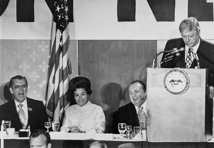 Rep. Rogers Morton, R-Md. with Rep. Bob Wilson, R-Calif. and Judy Agnew during Representative Candidates Conference at Marriott hotel in 1964. (Photo by CQ Roll Call)