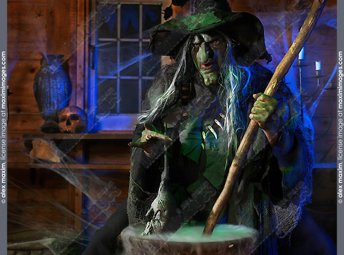 Scary old witch adding a rat into a cauldron with her potion inside her cabin on Halloween
