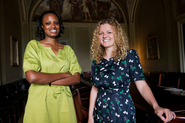 UNITED STATES - JUNE 24: Shuwanza Goff, left, and Courtney Fry, are photographed in the Capitol. (Photo By Tom Williams/CQ Roll Call)