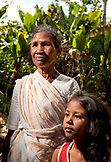 MAURITIUS, Bois Cherie, portrait of Anjani Luckhan and her granddaughter Vidhi Lukhan