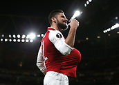 7th December 2017, Emirates Stadium, London, England; UEFA Europa League football, Arsenal versus BATE Borisov; Olivier Giroud of Arsenal celebrates by tucking the ball under his shirt after scoring his sides 5th goal from a penalty during the 2nd half to make it 5-0