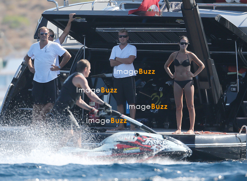 EXCLUSIVE<br /> August 4, 2014 - Calvi, France - Kimi R&auml;ikk&ouml;nen and his wife Jenni Dahlman are spending holidays on their yacht in Corsica. The Formula 1 Ferrari driver takes advantage of the Mediterranean during the season break. They explored the coast of the island together and enjoyed jet-skiing. Later on the day, the couple went for a walk in the city of  Calvi and enjoyed a romantic dinner.