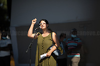"""Francesca (Call Center Precarious Worker).<br /> <br /> Rome, 05/07/20. Today, thousands of people gathered in Piazza San Giovanni to attend the """"Stati Popolari"""". The rally, organised by Aboubakar Soumahoro (1.) - Trade Union Coordinator of the Unione Sindacale di Base USB, was meant to be a popular answer by the """"Invisibles"""" to the """"Stati Generali dell'Economia"""" (States General of the Economy, 2.) of the Italian Prime Minister Giuseppe Conte, a 10-day-long meeting held in June at Villa Doria Pamphili (Villa Doria Pamphilj, 2.) where Italian and EU leaders / members of Governments, bankers, investors, advisors, met to discuss the economic recovery from the Covid-19 / Coronavirus crisis. From the organisers Facebook event page: «The Popular States will be our agora, where different realities will bring their pains and their proposals. A human square to make all the invisible visible and to give voice to all the unheard, our only symbol. The Popular States will be the communion of our needs and our struggles […]» (3.). At the end of the demo Soumahoro, who mainly deals with protection of """"Braccianti"""" (agricultural workers) rights, fights against """"caporalato"""" (illegal hiring) and the exploitation along the agricultural supply chain, gave a speech (4.) addressing the requests to the Government: - National plan for the work emergency; - Public housing program; - integral reform of the food supply chain; - radical transformation of migration policies (including, the """"right to return"""" for Italian migrants); - abolish the """"Security decrees"""" and cancel Bossi-Fini law; - reform the reception; - ecological transition strategy; - proactive interventions against discrimination and for equality.<br /> <br /> Footnotes & Links:<br /> 1. (Wikipedia.org) http://bit.do/fF4rH<br /> 2. 16.06.20 Aboubakar Soumahoro: Hunger/Thirst Strike And Meeting With Italian Prime Minister Conte http://bit.do/fGrbH<br /> 3. http://bit.do/fGrbD & https://www.facebook.com/StatiPopolari<br /> 4. Aboubak"""