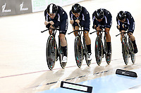 CAMBRIDGE, NEW ZEALAND - JANUARY 18: New Zealand compete in the Women's Team Pursuit during the 2018 UCI Track World Cup on January 18, 2019 in Cambridge, New Zealand.