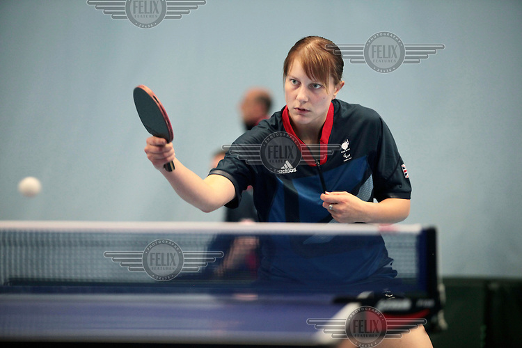 Victoria Bromley, who was one of nine learning disabled athletes in the British squad at the London 2012 Paralympics, during training with Team GB's Paralympic table tennis squad at The University of Bath.