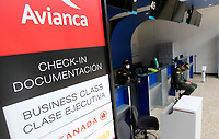 RIONEGRO, COLOMBIA - MAY 12: Two police officers are seen at the Avianca airline's counter at José María Córdoba International Airport on May 12, 2020 in Rionegro. Avianca filed for bankruptcy in the United States on May 11, 2020 to reorganize its debt due to the impact of the coronavirus pandemic. (Photo by Fredy Builes / VIEWpress via Getty Images)
