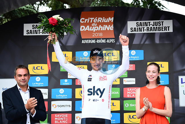 Gianni Moscon (ITA) Team Sky retains the Maillot Blanc on the podium at the end of Stage 1 of the 2018 Criterium du Dauphine 2018 running 179km from Valence to Saint-Just-Saint-Rambert, France. 4th June 2018.<br /> Picture: ASO/Alex Broadway | Cyclefile<br /> <br /> <br /> All photos usage must carry mandatory copyright credit (© Cyclefile | ASO/Alex Broadway)