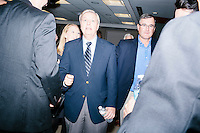 Republican presidential candidate and South Carolina senator Lindsey Graham greets people after speaking at a town hall at the offices of McLane Middleton Law Firm in Manchester, New Hampshire. Arizona senator and former Republican presidential nominee John McCain also spoke at the event and joined Graham for other events throughout the state over the following two days.