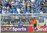 24 October 2004: San Jose Fans celebrate Pat Onstad before the game against Kansas City Wizards at Spartan Stadium in San Jose, California.   Pat Onstad made 1 save in the game and Earthquakes defeated Wizards, 2-0.  Credit: Michael Pimentel / ISI