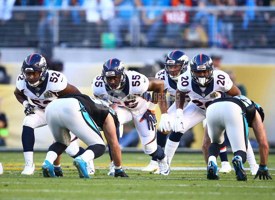 Feb 7, 2016; Santa Clara, CA, USA; Denver Broncos linebacker Corey Nelson (52), linebacker Lerentee McCray (55) and safety Josh Bush (20) against the Carolina Panthers in Super Bowl 50 at Levi's Stadium. Mandatory Credit: Mark J. Rebilas-USA TODAY Sports