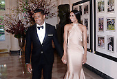 Seattle Seahawks quarterback Russell Wilson and Ciara Harris arrive for the State dinner in honor of Japanese Prime Minister Shinzo Abe and Akie Abe April 28, 2015 at the Booksellers area of the White House in Washington, DC. Photo by Olivier Douliery/Getty Images<br /> Credit: Olivier Douliery / Pool via CNP