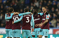 West Ham United's Manuel Lanzini celebrates scoring his side's third goal with Mark Noble, Aaron Cresswell, Arthur Masuaku and Marko Arnautovic<br /> <br /> Photographer Rob Newell/CameraSport<br /> <br /> The Premier League - Huddersfield Town v West Ham United - Saturday 13th January 2018 - John Smith's Stadium - Huddersfield<br /> <br /> World Copyright &copy; 2018 CameraSport. All rights reserved. 43 Linden Ave. Countesthorpe. Leicester. England. LE8 5PG - Tel: +44 (0) 116 277 4147 - admin@camerasport.com - www.camerasport.com