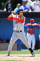 Lowell Spinners first baseman Sam Travis (40) at bat during a game against the Batavia Muckdogs on July 17, 2014 at Dwyer Stadium in Batavia, New York.  Batavia defeated Lowell 4-3.  (Mike Janes/Four Seam Images)
