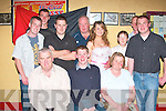 Brian O'Hanlon seated centre from Asdee celebrated his 21st birthday with family and friends in the Jessie James Tavern Asdee on Friday night.  Pictured front l-r Matt O' Hanlon, Brian O'Hanlon (birthday boy) and Peggie O' Hanlon.  Back l-r James Kelly, John Doran, Liam Galvin, Joe Dee, Danelle Driscoll, Mary O'Donoghue, Conor Mulvihill and Mark O'Hanlon..   Copyright Kerry's Eye 2008
