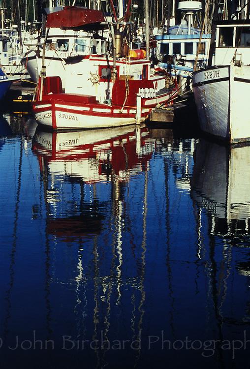 Fishing boats stationed in Noyo Harbor, Fort Bragg California
