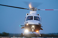 Oct 18, 2019; Ennis, TX, USA; NHRA factory stock team owner XXXX departs the track via helicopter during qualifying for the Fall Nationals at the Texas Motorplex. Mandatory Credit: Mark J. Rebilas-USA TODAY Sports