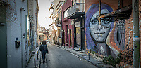 Pictured: A graffiti work.<br /> Re: Street photography, Athens, Greece. Thursday 27 February 2020