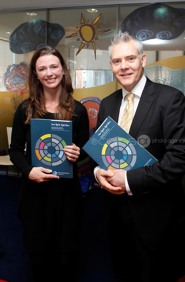 "***NO FEE PIC***.27/09/2011.(L to r) Cllr Claire O' Reagan Dublin City Council & Ken Breen Gallagher Shatter Associates.During a "" Your Rights Right now""/ Youthreach competition prizegiving award ceremony at the Office of the Ombudsman for Children, Dublin. The competition called on young Youthreach students to express themselves about the important human rights issues affecting their lives..Photo: Gareth Chaney Collins"
