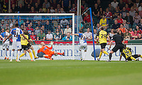 Billy Bodin of Bristol Rovers scores his side's first goal during the Sky Bet League 2 match between Bristol Rovers and Dagenham and Redbridge at the Memorial Stadium, Bristol, England on 7 May 2016. Photo by Mark  Hawkins / PRiME Media Images.
