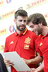 Gerard Pique (l) and Sergi Roberto during trade event during Spanish national football team staff. March 21,2016. (ALTERPHOTOS/Acero)