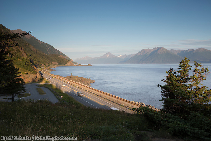 Looking south west along Turnagain Arm with the Seward Highway in the foreground, Kenai Mountains in the background.<br />